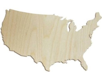 USA Wood Shape - Wood Cut Out, Wooden Cut Out, Wood Shape, Wooden Shapes, Wood Letter, Wooden Letters, State Shapes
