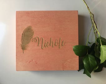 Personalized Wooden Box - Bridesmaid Gift, Jewelry Box, Gift Box - Choose From 11 Stain Colors - Memory Box, Storage Box, Keepsake Box
