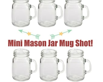 6 - 4oz Mini Mason Jar Mug Shot Glasses - Set of 6