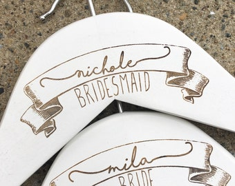 Personalized Wedding Party Hangers - Wooden, Choose Your Hanger Style  - Wedding Hangers, Bridal Party Hangers, Wedding Dress Hangers