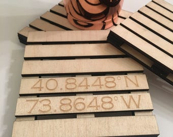 Custom Pallet Coaster - Latitude Longitude Custom Engraved