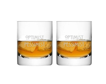 Optimist/Pessimist Etched Glass Set -Set of 2- Choose Your Style of Etched Glassware -Etched Wine Glasses, Pint Glasses, Rocks Glasses