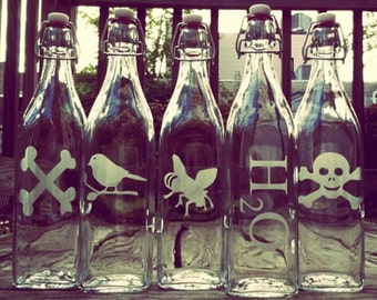 Engraved Glass Swing Bottle - Choose your favorite design! - Square - Water Bottle, Glass Bottle