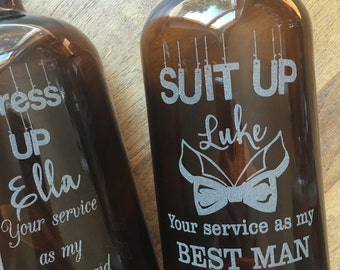 Wedding Party Beer Growlettes -32 oz -Groomsmen Gifts, Bridesmaids Gifts, Maid of Honor,Best Man, Groomsman, Laser Engraved, Custom Engraved