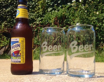 Glass Beer Cans - Set of 2, 4 or 6 - Etched Glassware, Etched Glass, Glass Soda Cans, Glass Beer Cans, Glass Cans