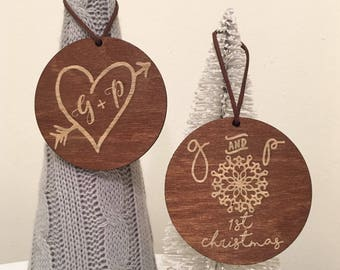 15 Wooden Ornaments To Choose From- 1st Christmas, Mr & Mrs, Christmas Ornaments, Ornaments, Merry Christmas, Custom Ornament, With Gift Box