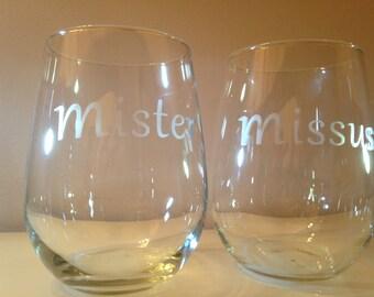Mister Missus Glassware Set - Set of 2