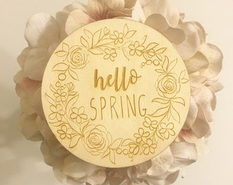 Hello Spring Coasters - Set of 2 or 4 - Home Decor, Coffee Table, Housewarming Gift, Wooden Coasters, Custom Coasters, Engraved Coasters