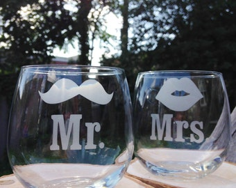 Mr and Mrs Mustache and Smooch Etched Glass Set- Set of 2 -Choose Your Style of Glassware - Etched Wine Glasses, Wedding Glasses, Mason Jars