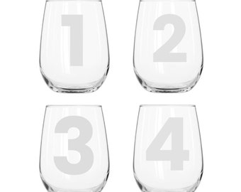 Urban Belle by Numbers Glassware Set - Set of 4 - Choose Your Style of Glassware and Font