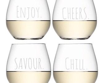 Enjoy. Savour. Cheers. Chill. Glassware Set - Set of 4