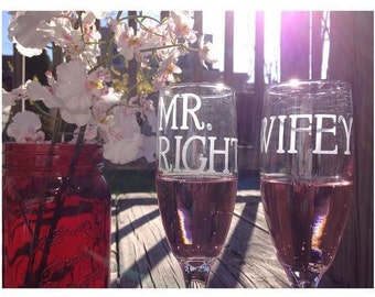 Wifey Mr.Right Etched Glassware Set - Set of 2 - Wedding Glasses, Etched Glass, Etched Wine Glasses - Rocks Glasses, Champagne Flutes