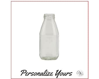 Custom Vintage Inspired Milk/Juice Bottle with Lid - Personalize Yours