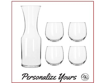 Custom Carafe and Wine Glasses Set - Set of 5 - Personalize Yours