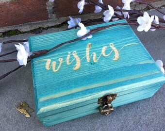 Wishes Guest Box- Guest Book Alternative- Wedding, Baby Shower, Bridal Shower, Retirement, Birthday Party, Wooden Box, Guest Box, Guest Book