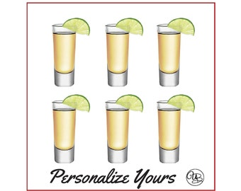 Custom Shot Glasses - Set of 6 - Personalize Yours
