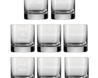 Bridal Party Etched Glass Set -Choose Your Style of Etched Glassware -Wedding Glasses, Wine Glasses, Pint Glasses, Mason Jars, Rocks Glasses