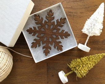 Wooden Snowflake Ornament - The Mila Ornament with Gift Box - Christmas Ornament, Wood Ornament, Christmas Tree Decoration