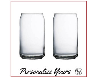 Custom Glass Soda/Beer Cans - Set of 2- Personalize Yours