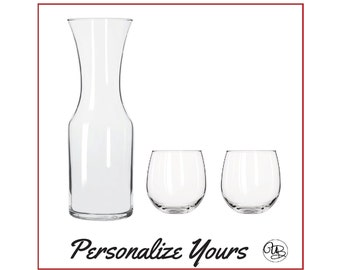 Custom Carafe and Wine Glasses Set - Set of 3 - Personalize Yours