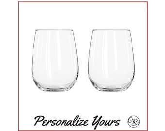 Custom Stemless White Wine Glasses - Set of 2 - Personalize Yours