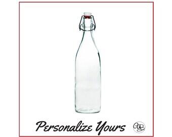 Custom Swing Top Glass Bottles - Round - Personalize Yours - Glass Bottle, Water Bottle, Swing Bottle