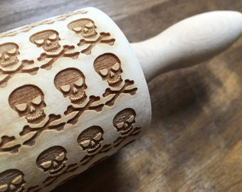 "Engraved Embossed Skull and Crossbones 13"" Rolling Pin - Kitchen, Wooden Rolling Pin, Home, Baking, Baker"