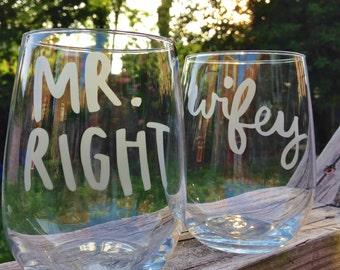 Wifey Mr.Right Glassware Set - Set of 2 - Wedding Gift, Couple Gift, Wedding Glassware
