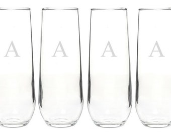 Custom Monogrammed Glassware Set - Choose Your Style of Glassware