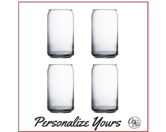 Custom Glass Soda/Beer Cans - Set of 4- Personalize Yours