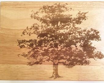 "Large Custom Tree Cutting Board - Wooden Cutting Board, Personalized Cutting Board, Custom Engraved Cutting Board - 18"" x 12"" x 1 3/4"""