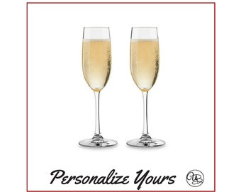 Custom Stemmed Champagne Flutes - Set of 2 - Personalize Yours