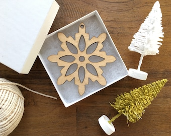 Wooden Snowflake Ornament - The Emma Ornament with Gift Box - Christmas Ornament, Wood Ornament, Christmas Tree Decoration