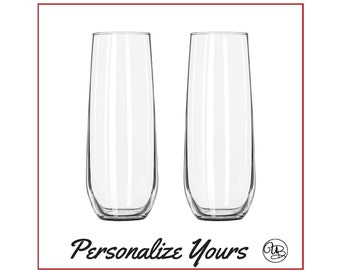 Custom Stemless Champage Flutes - Set of 2 - Personalize Yours