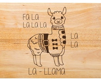 "Fa La Llama Cutting Board - Holiday Cutting Board, Christmas Cutting Board, Christmas Present, Christmas Gift, Kitchen -  18"" x 12"" x 1 3/4"""