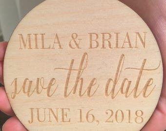 Save the Date Magnets - Custom Wooden Save the Date Magnets, 2 Different Finishes, Wedding Announcements, Wedding Invitation, Feather