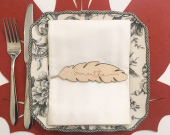 Wooden Feather Place Cards - Personalize Yours