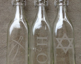 Custom Engraved Square Glass Swing Top Bottles - 1 Liter - Personalize Yours, Glass Bottle, Water Bottle, Custom Engraved, Swing Bottle