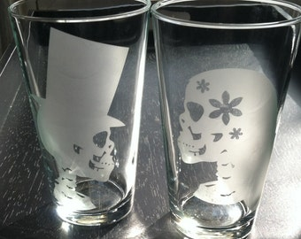 Skully Bride and Groom - Set of 2 Glasses