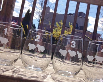 Counting Sheep Etched Glassware Set - Set of 4 - Etched Wine Glasses, Pint Glasses, Rocks Glasses, Mason Jars, Etched Glass