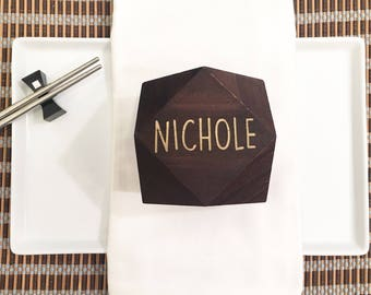 Wooden Geometric Place Card Block - Geometric Home Decor, Escort Card, Wooden Place Card, Engraved Place Card, Custom Place Card, Tablescape