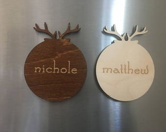 Antler Magnets -Personalized Wooden Magnets, Kitchen. Magnets, Chistmas Magnets, Refrigerator Magnets, Custom Magnets, Custom Wooden Magnets