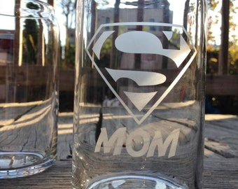 Super Mom! Glass Cans - Etched Glass, Etched Glassware, Mothers Day, Glass Soda Can, Glass Beer Can, Mothers Day Gift