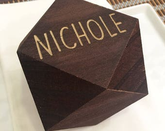 Wooden Geometric Place Card Block- Geometric Home Decor, Escort Card, Wooden Place Card, Engraved Place Card, Custom Place Card, Tablescape