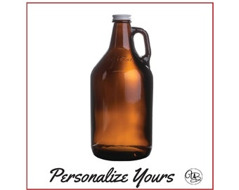Custom Amber Beer Growler - 64 oz - Personalize Yours