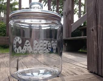 Candy Glass Jar - 1/2 Gallon Candy Jar, Candy Bar, Cookie Jar, Glass Jar