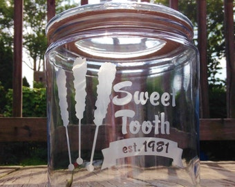 Sweet Tooth Glass Gallon Jar - 1/2 Gallon Candy Jar, Candy Bar, Cookie Jar, Glass Jar, Kitchen Storage