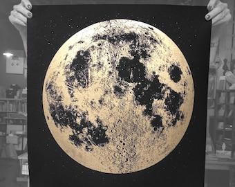 2017 Lunar Calendar / Moon Phase Calendar Screen Printed Poster, Large Moon Calendar, Wall Moon Calendar, Moon Phases Calendar, Wall Decor