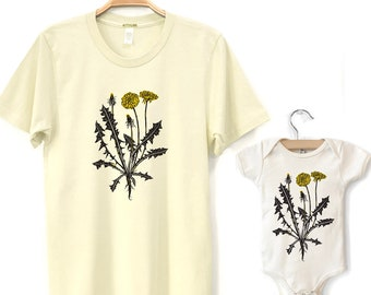 Dad and Baby Matching Shirts, Dandelion, Wildflower Tshirt Set, Matching Tees Father Daughter or Son, New Dad and Kids Fathers Day Gift