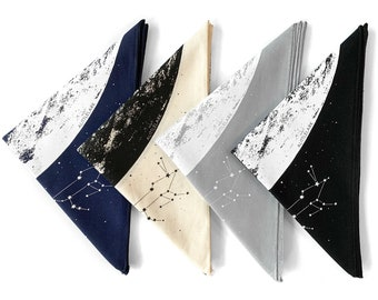 Moon Bandana, Black bandana, Cotton Bandana, Cloth Face Mask, Space Bandana, Full Moon Bandana, cloth space stars and constellations print